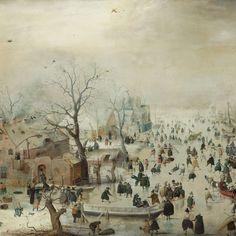Winterlandschap met schaatsers, Hendrick Avercamp, ca. 1608 - Rijksmuseum