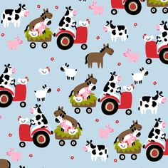 Farmtasia Friends Blue fabric by bzbdesigner on Spoonflower.