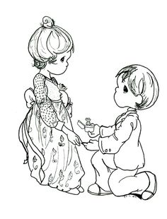 Precious Moments Coloring Pages Give A Nice Ring