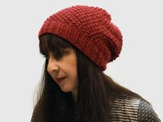 Red Chunky Women hat/ christmas hat/ gift for her/ chunky slouchy hat/ alpaca hat/ moss stiche hat/ handmade hat/ wool hat/ red slouchy hat by PepperFashion on Etsy