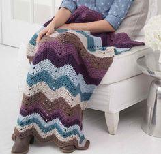 Cozy Nights Ripple Afghan by Lion Brand Crochet Kit Featuring Vanna's Choice Yarn