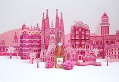 Zim and Zou Barcelona's Architectural Landmarks Crafted in Pink Paper - Freixenet | Click for full post! #paper #art #ad