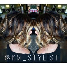 Blonde balayage brown balayage Short bob