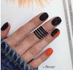 #black #nails #red #orange #manicure #summer2019