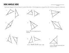 Asa Aas Sss Sas Worksheet: proving triangles congruent with congruence shortcuts geometry ,