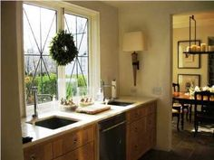 windows and cabinetry style -- nicely done! Kitchen Nook, Kitchen Dining, Kitchen Counters, Kitchen Ideas, Windows And Doors, Big Windows, Freestanding Kitchen, Orange Kitchen, Welcome To My House