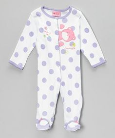 Take a look at this White & Purple Polka Dot Bear 'Peek-A-Boo' Footie - Infant by Carter's Watch the Wear on #zulily today!