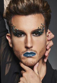 Glitter Carnaval, Make Carnaval, Male Makeup, Makeup Art, Festival Makeup Glitter, King Outfit, Beauty Makeup Photography, Drag King, Eye Tutorial