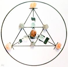 En este mandala he incluido cuatro de los cristales de los que se dice que son adecuados para atraer la abundancia a la vida: fluorita en los vértices del triángulo pequeño, pirita en el mediano y …