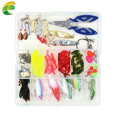 100ピース/箱ルアー釣りアクセサリータックルボックスで完全な釣りルアー釣り針ワイヤコネクタビーズリングプライヤーツールセット