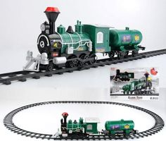10-Piece Green Battery Operated Lighted & Animated Classic Train Set with Sound
