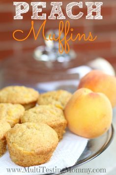 Easy Homemade Peach Muffins for snacks and school lunches!