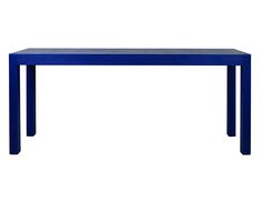 Custom Burlap wrapped Parsons Table painted in BM Patriot Blue(LEAD) 643×497