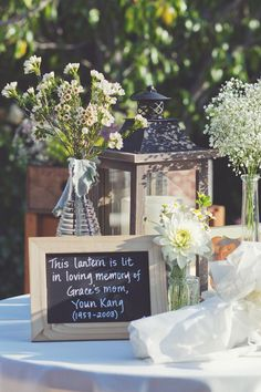 A lantern is a nice alternative to memorial candles.