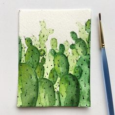 Surprise! A quick break from the galaxies to bring you a little watercolor cactus family!