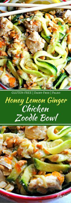 Honey Lemon Ginger Chicken Zucchini Noodle Bowl | www.mamaknowsglutenfree.com