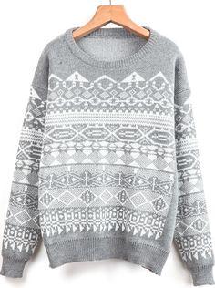 Shop Grey Long Sleeve Geometric Pattern Knit Sweater online. Sheinside offers Grey Long Sleeve Geometric Pattern Knit Sweater & more to fit your fashionable needs. Free Shipping Worldwide!