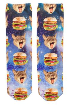 The latest satellite image from our Milky Way, delicious burgers and the hungriest kitty hanging out in a celestial manner. Just kidding, they are socks, soft and sleek in a poly-mix material. Delicious Burgers, Monki, Hanging Out, Hamburger, Flora, Archive, Reusable Tote Bags, Kitty, Digital
