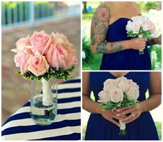 Pink rose bouquets with navy blue bridesmaid dresses.  Uninvented Colors: Tricia and Clayton's Classy Coastal Wedding (Fairhope, Alabama)