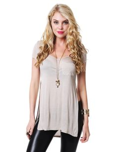 Basic Round Neck Long T-Shirt With Side Slits #11foxy