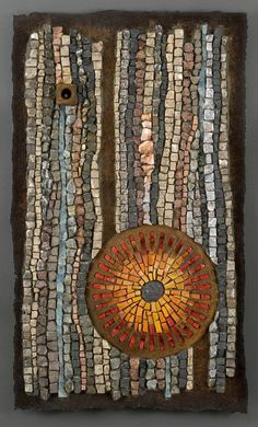 Lynn Adamo, Untitled, 2012, rusted steel, stone, recycled glass, smalti, found objects