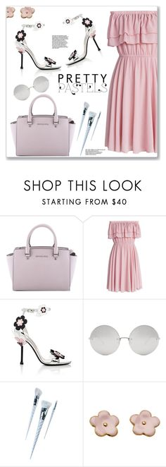 """""""Pretty Pastels"""" by christinacastro830 ❤ liked on Polyvore featuring MICHAEL Michael Kors, Chicwish, Prada, Linda Farrow and Unicorn Lashes"""