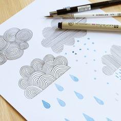 Happy clouds!  Mijksje | cloud | design | illustration | illustratie | wolk | regen | rain | watercolor | pentekening | paint | verf | aquarel