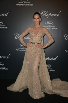 Izabel Goulart In Zuhair Murad Spring 2015 Couture - Chopard Party in Cannes 2015