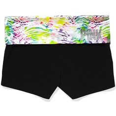 Victoria's Secret Bling Foldover Yoga Shortie ($30) ❤ liked on Polyvore featuring activewear, shorts, yoga pants, pajamas, bottoms, pants, sexy activewear, yoga activewear, victoria's secret and victoria secret activewear