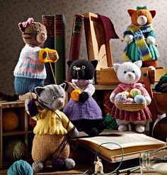 alan dart's collection of knitted kittens.