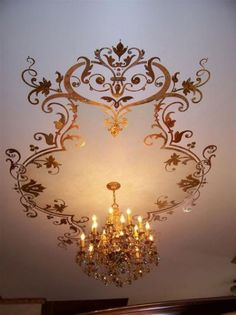 600 jewels glued to stencil dining room ceiling. Dining Room Ceiling, Stencils Wall, Ceiling Medallions, Mural Stencil, Ceiling Murals, Painted Paneling, Ceiling Decor, Ceiling Design, Beautiful Interior Design