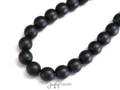 Black Czech Beads, 8mm Round Black Beads, Matte Black Glass Beads, 1 Strand of 20 Beads, #BLK 8