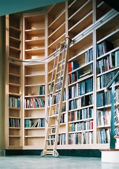 Lovely ladder and shelves, but these people clearly need more books! ;)