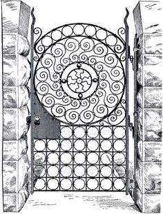 This is an amazing Public Domain Iron Gate Image! This image was scanned from a Circa Wireware and Hardware Catalog. Vintage Fonts, Clipart Vintage, Harry Potter Coloring Pages, Gate Images, Catalog Printing, Texas, Graphics Fairy, Longarm Quilting, Print Pictures