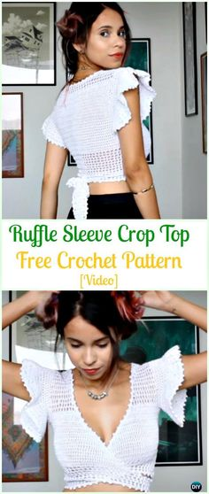 Crochet Ruffle Sleeve Crop Top Free Pattern- Crochet Women Crop Top Free Patterns #Crochet