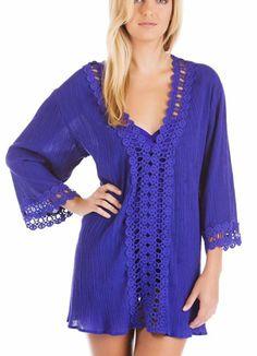 La Blanca Iris Peep Show Crochet Swimsuit Cover Up Tunic Dress S Small NWOT NEW #LaBlanca #CoverUp