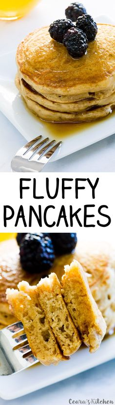 THESE are the best pancakes I've ever made. They're even oil-free! -Rachael   Fluffy Vegan Pancakes