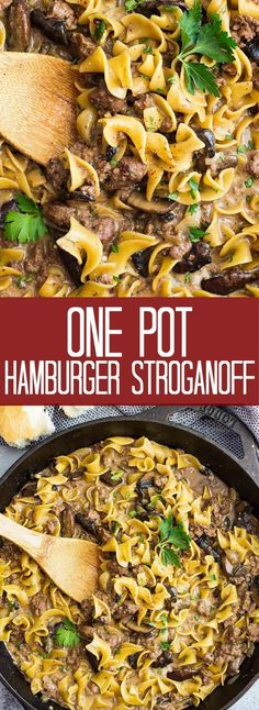 One Pot Hamburger Stroganoff is a quick and easy recipe. Ground beef, onions, mu… One Pot Hamburger Stroganoff is a quick and easy recipe. Ground beef, onions, mushrooms and egg noodles all cooked in a creamy sauce. (no cream of mushroom soup) Hamburger With Egg, Hamburger Meat Recipes Ground, Healthy Hamburger, Stew Meat Recipes, Meat Recipes For Dinner, Healthy Meat Recipes, Ground Beef Recipes Easy, Easy Meals With Hamburger Meat, Hamburger Beef Stroganoff