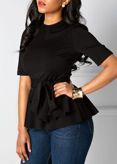 Belted Round Neck Black Short Sleeve Blouse | Rosewe.com - USD $30.03