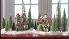 VINTAGE STYLE  PUTZ CHRISTMAS VILLAGE WHITE HOUSE with Bottle Brush Tree ~ Raz
