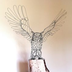 wire sculpture by ruth jensen of lifesize great horned owl - front Chicken Wire Art, Chicken Wire Sculpture, Wire Art Sculpture, Sculpture Projects, Armature Sculpture, Metal Sculptures, Abstract Sculpture, Bronze Sculpture, Stylo 3d