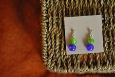 Handmade earrings purple and green ball earring by ATouchOfJewels, $16.50