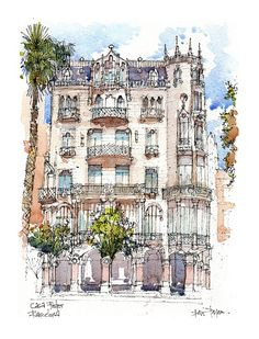 Casa Fuster PRINT / Lluís Domènech i Montaner. Eixample, Barcelona / drawing…