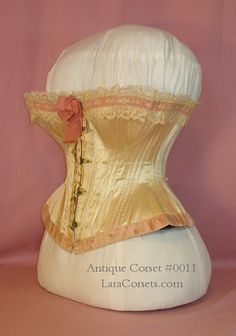 A rare and beautiful high end silk corset from the 1860s-1870s