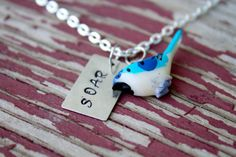 Silver Hand Stamped Charm Necklace Bird by KendrasJewelryBox