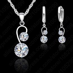 Elegant Woman Gift Wedding Party Jewelry, Two Zircon Crystal Stone Pendant Necklace Lever Back Earring Jewelry Set For Bridal