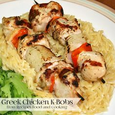 Greek Chicken K-Bobs are marinated in a orange juice and greek marinade. They are grilled and served with orzo. - Recipes, Food and Cooking (Orange Chicken Kabobs) Turkey Recipes, Chicken Recipes, Orzo Recipes, Healthy Eating Recipes, Lunch Recipes, My Favorite Food, Favorite Recipes, Bbq Potatoes, Smoking Recipes