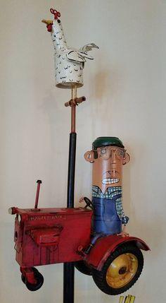 "Gravenstein Grill ""Farmer John"" Patrick Amiot Urban Junk Art, Sebastopol, CA Sculpture Art, Sculptures, Garden Junk, Junk Art, Sonoma County, Fire Extinguisher, Roosters, Yard Art, Welding"