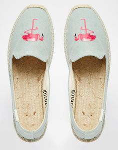 Image 3 of Soludos Flamingo Embroidered Espadrille Flat Shoes