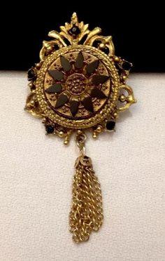 Vintage Denise Gold Dangling Brooch or Pendant with Black Enamel and Cabs | eBay